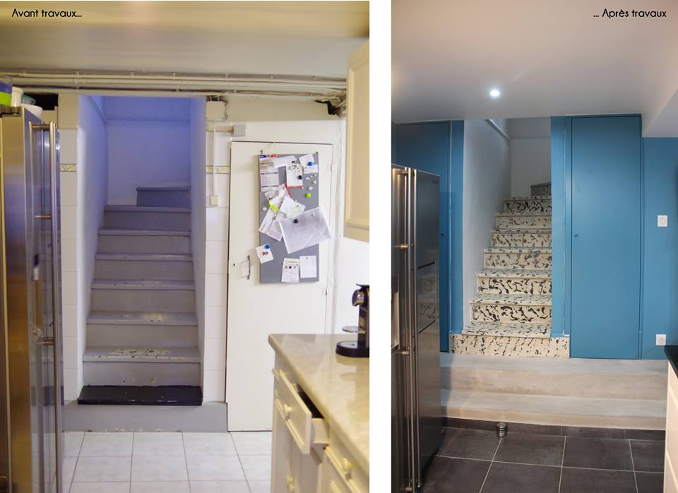 Avant et après les travaux de rénovation de la cage d'escaliers Archibien