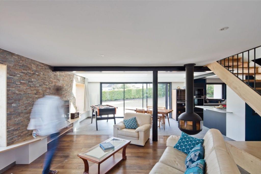 Rénovation et extension d'une maison secondaire projet Archibien salon pièce à vivre