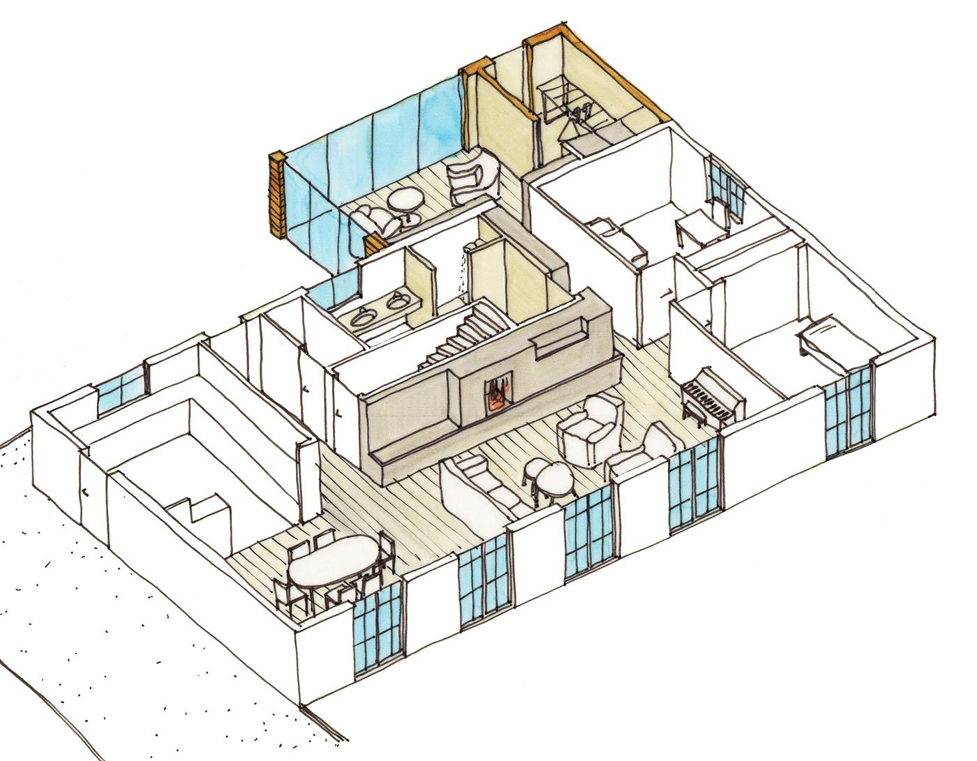 Dessin de la nouvelle organisation de l'étage principal de la maison, dans l'esquisse des architectes