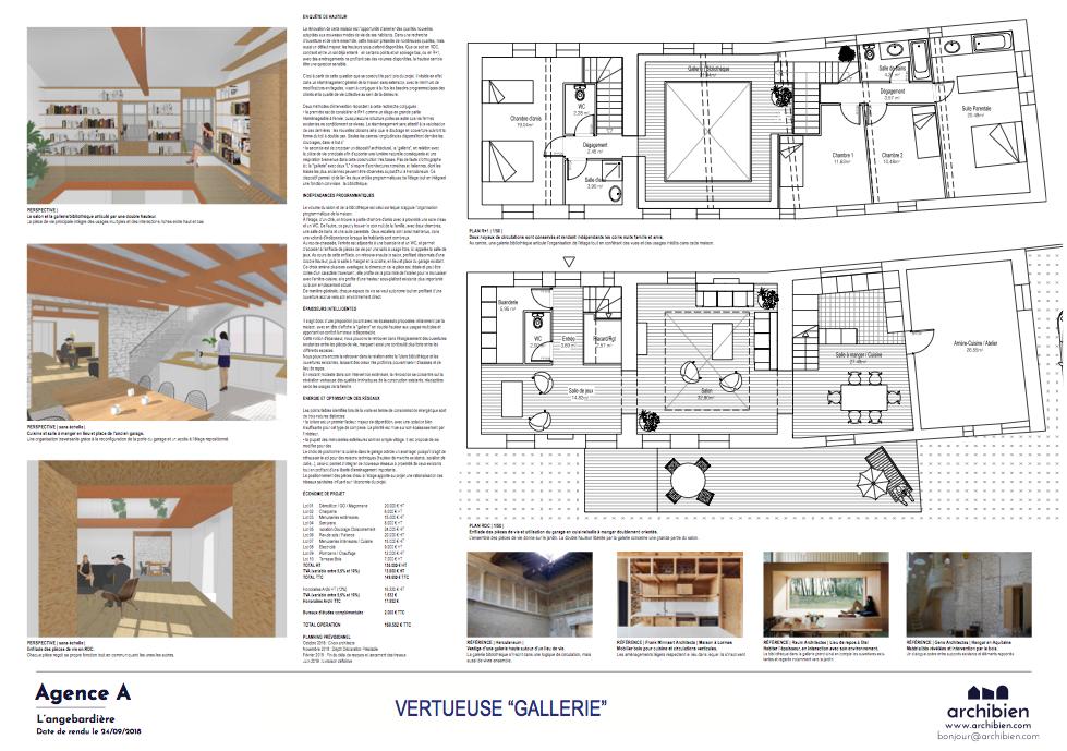Esquisse d'un architecte avec plans, images, planning et budget