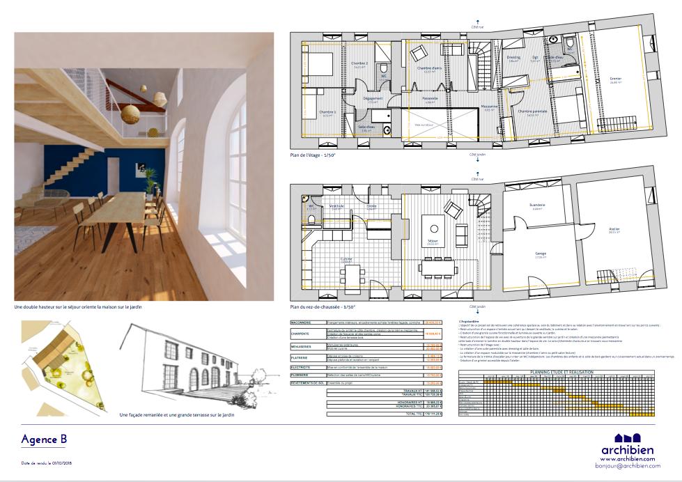 Proposition d'un architecte avec devis, plans des niveaux et perspectives